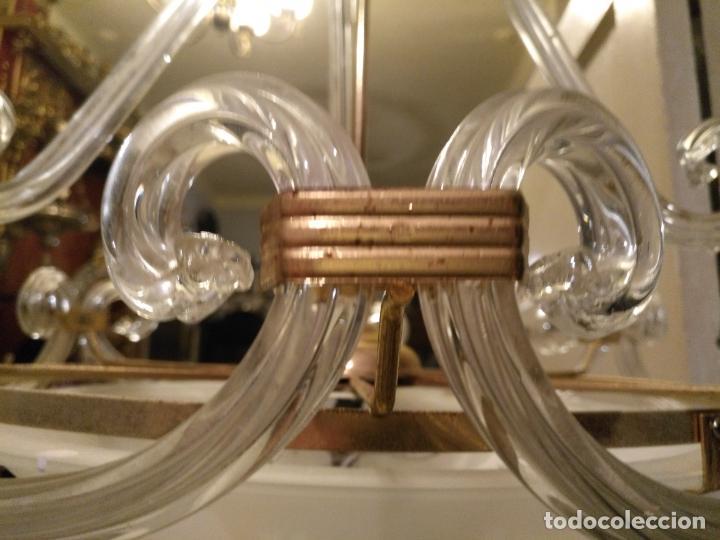 Antigüedades: gran lampara de cristal salon , techo . brazos cristal y tulipa, metal dorado - ancho maximo 50 cm - Foto 19 - 190479520