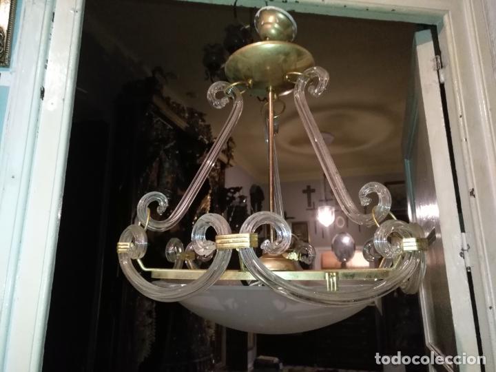 Antigüedades: gran lampara de cristal salon , techo . brazos cristal y tulipa, metal dorado - ancho maximo 50 cm - Foto 21 - 190479520