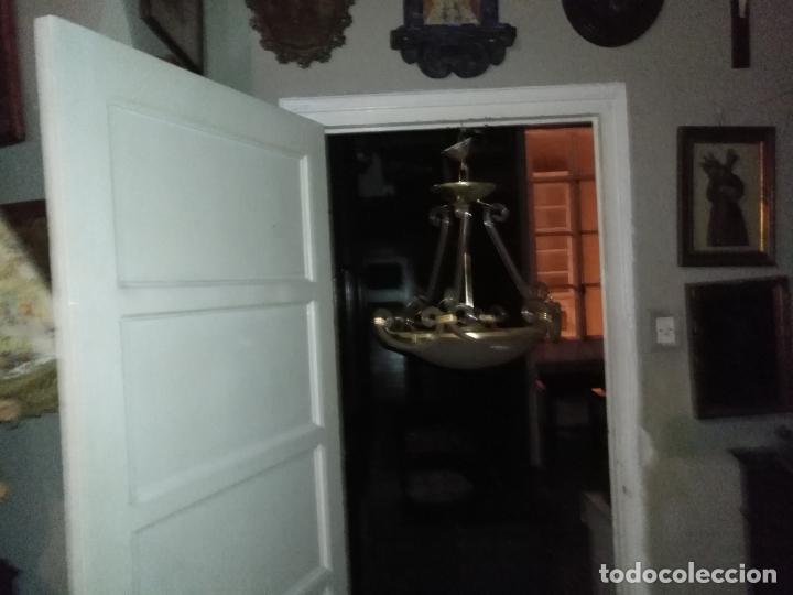 Antigüedades: gran lampara de cristal salon , techo . brazos cristal y tulipa, metal dorado - ancho maximo 50 cm - Foto 25 - 190479520