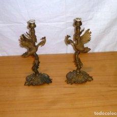 Antigüedades: PAREJA DE LAMPARAS DE MESA EN BRONCE.. Lote 190483733