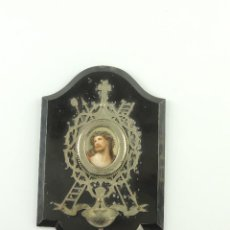 Antigüedades: PRECIOSA BENDITERA AGUABENDITERA DECORACION RELIGIOSA IMAGEN DE JESUCRISTO. Lote 190503293