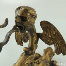 Antigüedades: EXCELENTE CAMPANA DE BRONCE LLAMADOR DE PUERTA MAGNIFICOS DETALLES. Lote 190505492