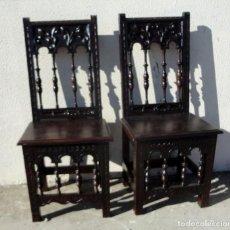 Antigüedades: PAREJA DE SILLAS TALLADAS RENACIMIENTO ESPAÑOL . Lote 190517856