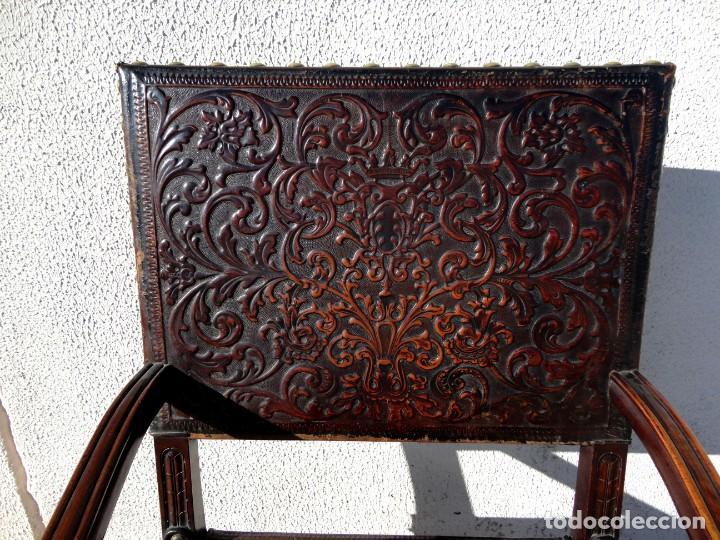 Antigüedades: Sillon de cuero repujado, SXIX, renacimiento - Foto 5 - 190526095