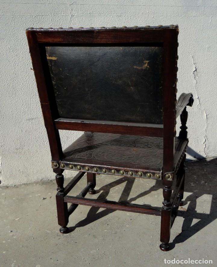 Antigüedades: Sillon de cuero repujado, SXIX, renacimiento - Foto 9 - 190526095