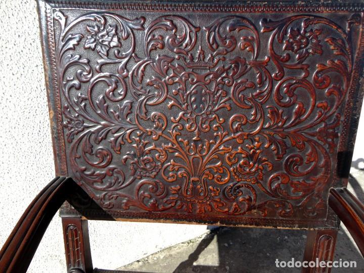 Antigüedades: Sillon de cuero repujado, SXIX, renacimiento - Foto 10 - 190526095