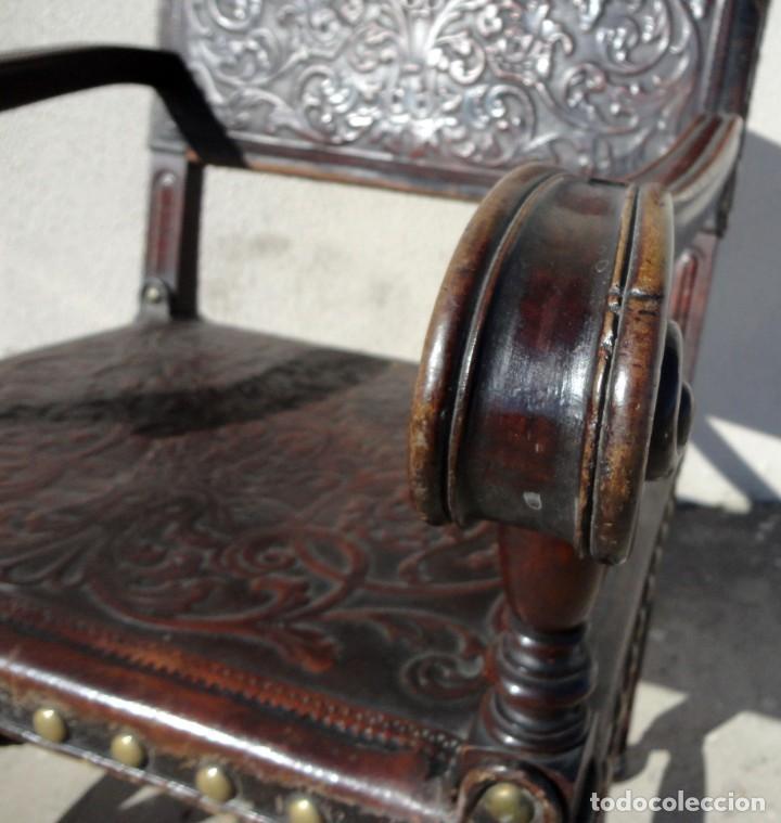 Antigüedades: Sillon de cuero repujado, SXIX, renacimiento - Foto 11 - 190526095