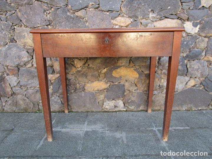 Antigüedades: Pequeña Mesa de Despacho Isabelina - Madera de Caoba - 92 cm Ancho, 51,5 Fondo - S. XIX - Foto 2 - 190537855