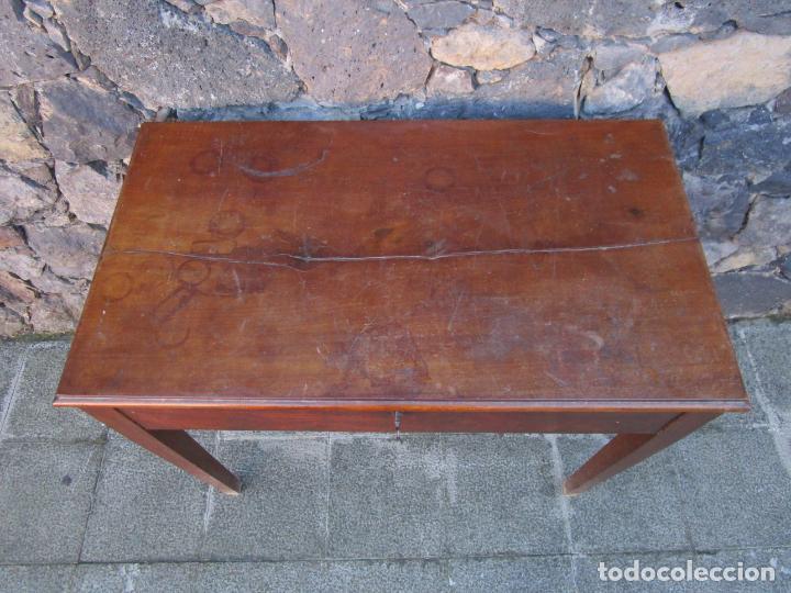 Antigüedades: Pequeña Mesa de Despacho Isabelina - Madera de Caoba - 92 cm Ancho, 51,5 Fondo - S. XIX - Foto 4 - 190537855