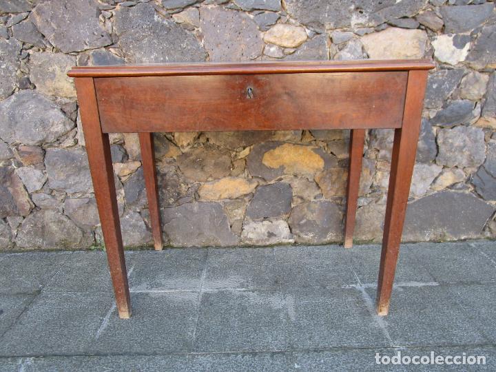 Antigüedades: Pequeña Mesa de Despacho Isabelina - Madera de Caoba - 92 cm Ancho, 51,5 Fondo - S. XIX - Foto 6 - 190537855
