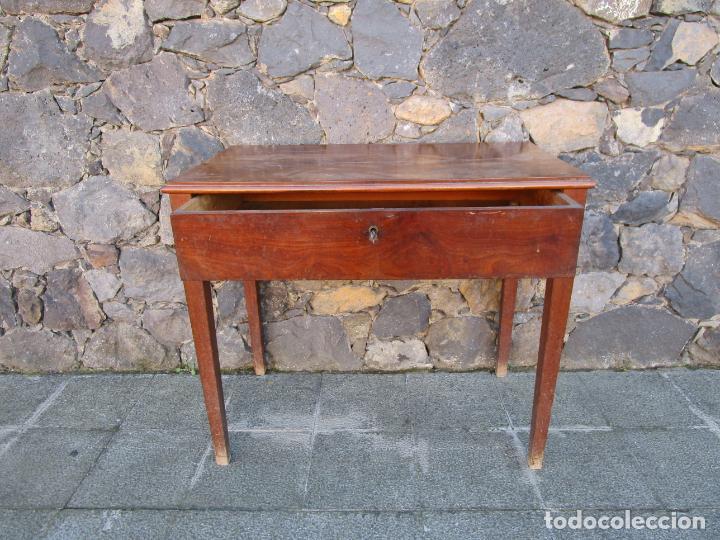 Antigüedades: Pequeña Mesa de Despacho Isabelina - Madera de Caoba - 92 cm Ancho, 51,5 Fondo - S. XIX - Foto 8 - 190537855