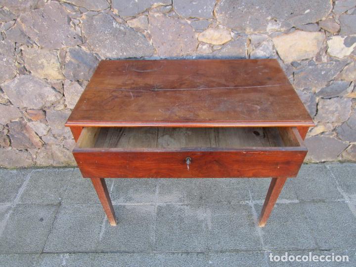 Antigüedades: Pequeña Mesa de Despacho Isabelina - Madera de Caoba - 92 cm Ancho, 51,5 Fondo - S. XIX - Foto 9 - 190537855