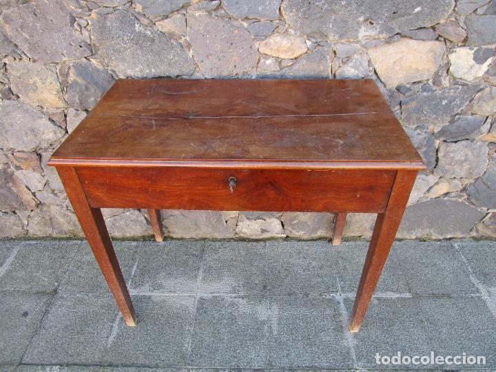 Antigüedades: Pequeña Mesa de Despacho Isabelina - Madera de Caoba - 92 cm Ancho, 51,5 Fondo - S. XIX - Foto 11 - 190537855