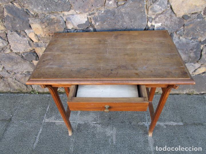 Antigüedades: Pequeña Mesa de Despacho Art Decó - Madera de Roble - 79 cm Ancho, 48,5 Fondo - Años 20 - Foto 6 - 190539062