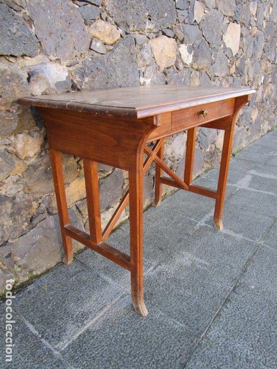 Antigüedades: Pequeña Mesa de Despacho Art Decó - Madera de Roble - 79 cm Ancho, 48,5 Fondo - Años 20 - Foto 7 - 190539062