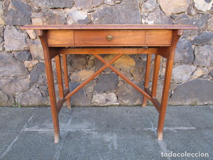 Antigüedades: Pequeña Mesa de Despacho Art Decó - Madera de Roble - 79 cm Ancho, 48,5 Fondo - Años 20 - Foto 10 - 190539062