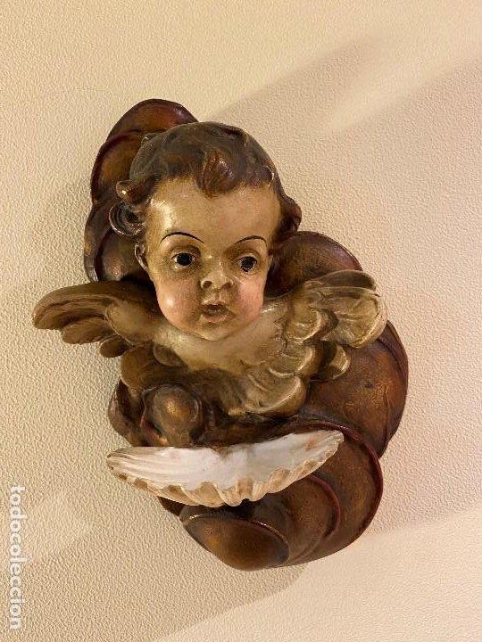Antigüedades: Angelito con benditera de concha - Foto 3 - 175624332