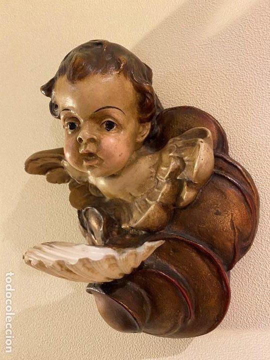 ANGELITO CON BENDITERA DE CONCHA (Antigüedades - Religiosas - Benditeras)