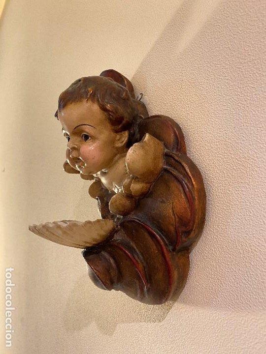 Antigüedades: Angelito con benditera de concha - Foto 4 - 175624332