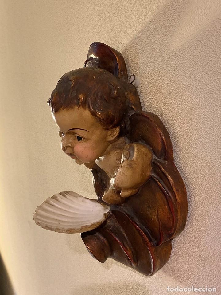 Antigüedades: Angelito con benditera de concha - Foto 6 - 175624332