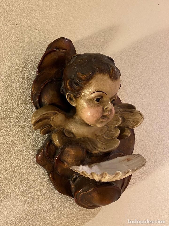 Antigüedades: Angelito con benditera de concha - Foto 2 - 175624332