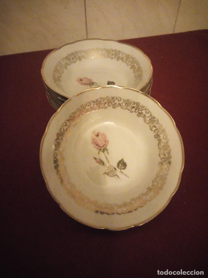 Antigüedades: Lote de 6 cuencos de porcelana bavaria,decorados con rosa y oro - Foto 2 - 190569116