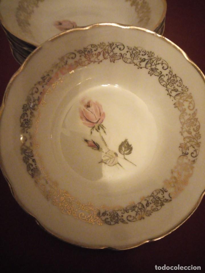 Antigüedades: Lote de 6 cuencos de porcelana bavaria,decorados con rosa y oro - Foto 3 - 190569116