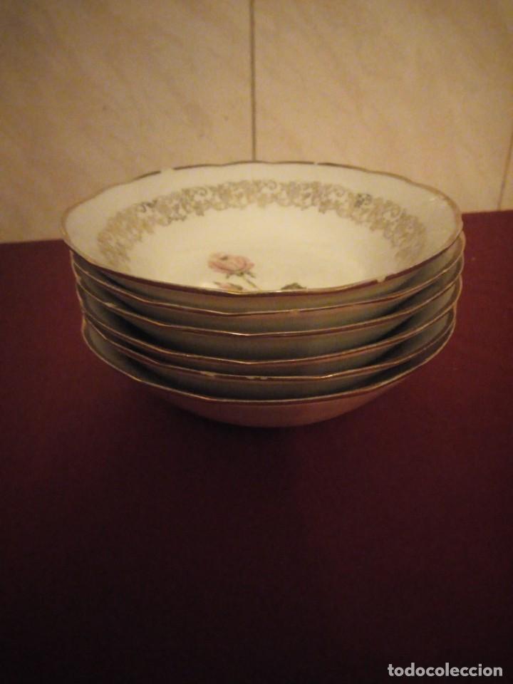 Antigüedades: Lote de 6 cuencos de porcelana bavaria,decorados con rosa y oro - Foto 4 - 190569116