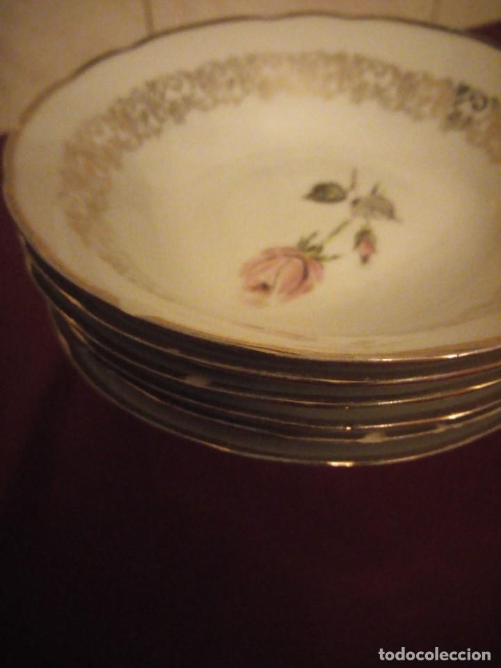 Antigüedades: Lote de 6 cuencos de porcelana bavaria,decorados con rosa y oro - Foto 5 - 190569116