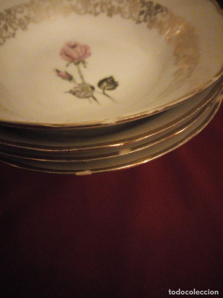 Antigüedades: Lote de 6 cuencos de porcelana bavaria,decorados con rosa y oro - Foto 6 - 190569116
