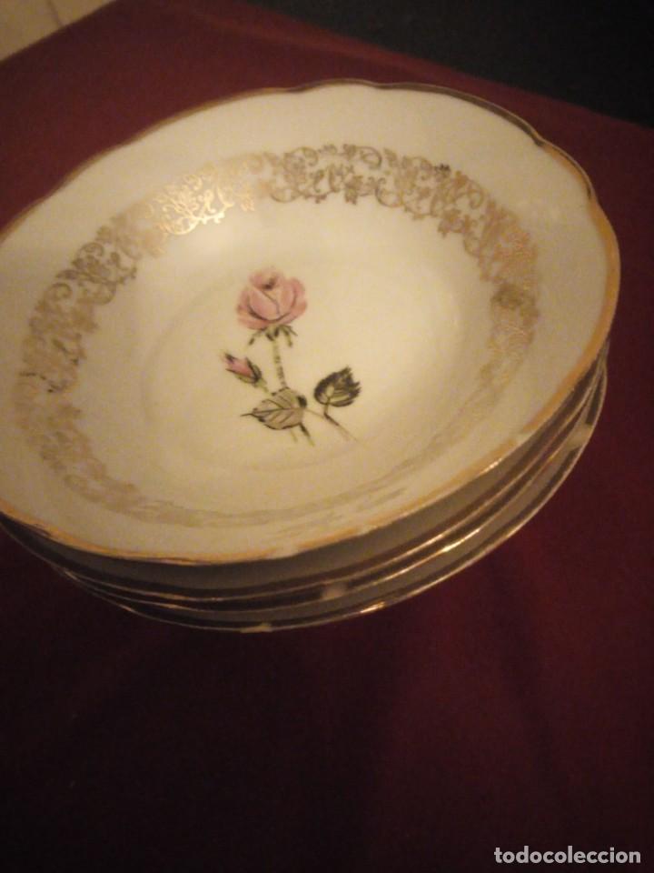 Antigüedades: Lote de 6 cuencos de porcelana bavaria,decorados con rosa y oro - Foto 7 - 190569116