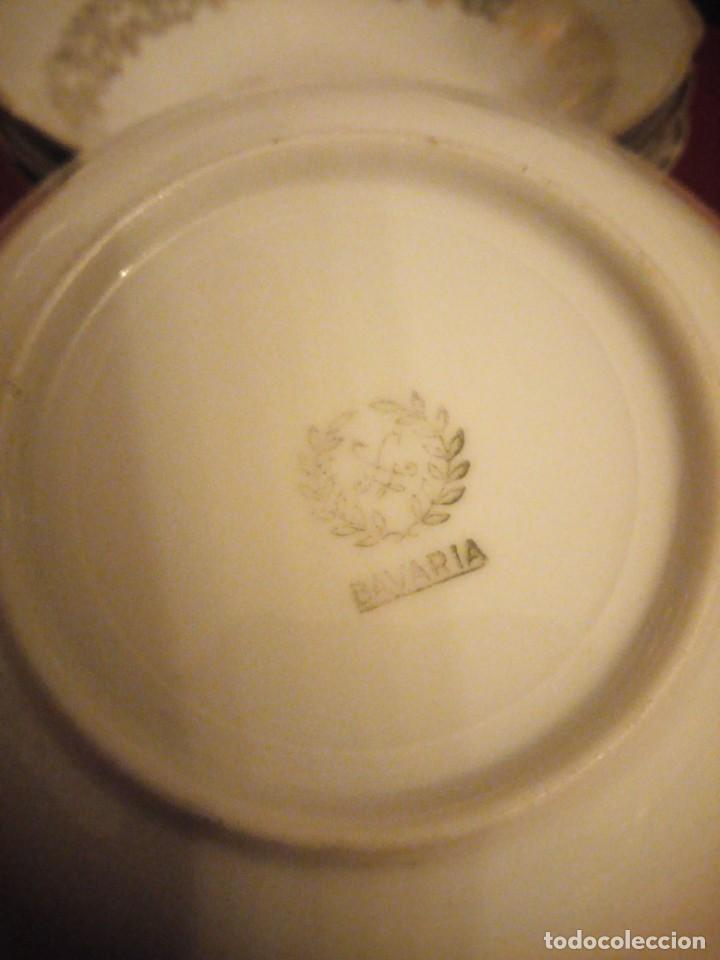 Antigüedades: Lote de 6 cuencos de porcelana bavaria,decorados con rosa y oro - Foto 8 - 190569116