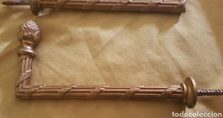 Antigüedades: Antigua pareja barras de cortina bronce - Foto 2 - 190584472