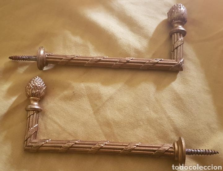 ANTIGUA PAREJA BARRAS DE CORTINA BRONCE (Antigüedades - Hogar y Decoración - Cortinas Antiguas)