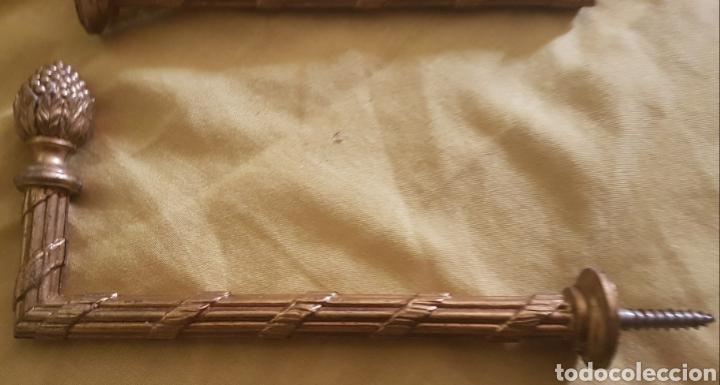 Antigüedades: Antigua pareja barras de cortina de bronce - Foto 2 - 190584627
