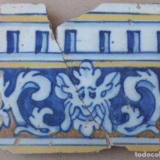 Antigüedades: AZULEJO ANTIGUO DE TALAVERA / TOLEDO - MASCARON / CARIATIDE - RENACIMIENTO - SIGLO XVI.. Lote 190593362