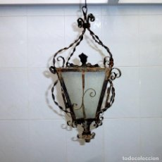 Antigüedades: ANTIGUA LAMPARA,FAROL DE TECHO DE HIERRO FORJADO.. Lote 190638381