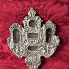 Antigüedades: RELICARIO-CUSTODIA METAL PLATEADO SIGLO XVIII,RELIQUIAS SAN ANTONIO-S.EVARISTO Y S.VICENTE-47X20 CM . Lote 190639150
