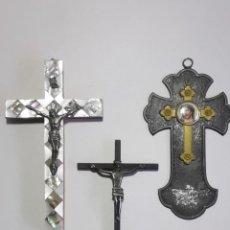 Antigüedades: INTERESANTE CONJUNTO DE CRUCES ANTIGUAS. 15,14,14 CM. . Lote 190704413