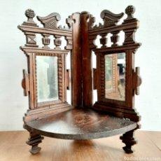 Antigüedades: ESTANTE RINCONERA DE MADERA CON ESPEJOS PLEGABLE. Lote 190712542