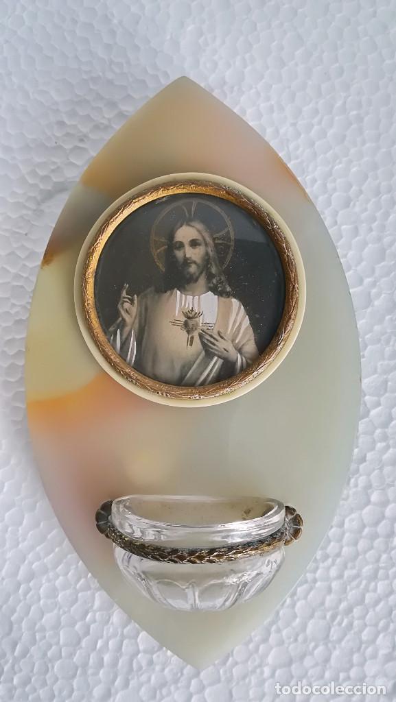 BENDITERA DE ONIX CON MEDALLON DE CRISTO (Antigüedades - Religiosas - Benditeras)