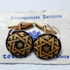 Antigüedades: PAREJA DE GEMELOS TRABAJO TOLEDANO DAMASQUINADO TOLEDO. Lote 190765638