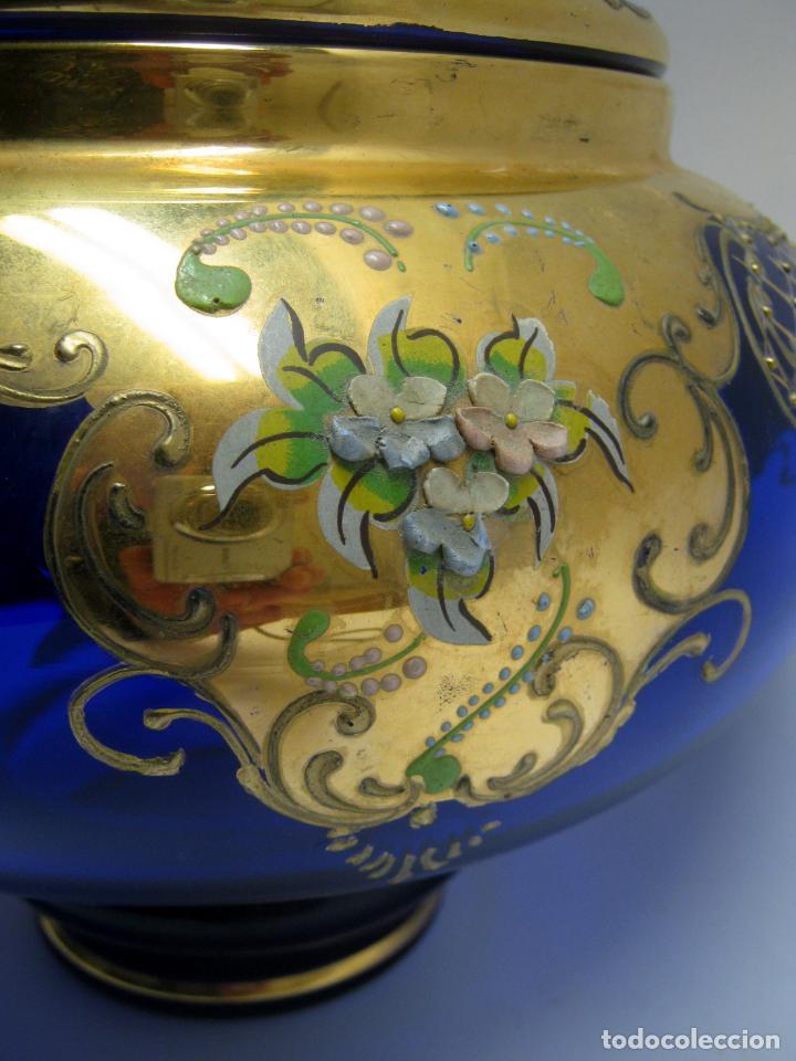 Antigüedades: Impresionante ponchera bombonera en cristal cobalto y oro - Foto 4 - 190772785