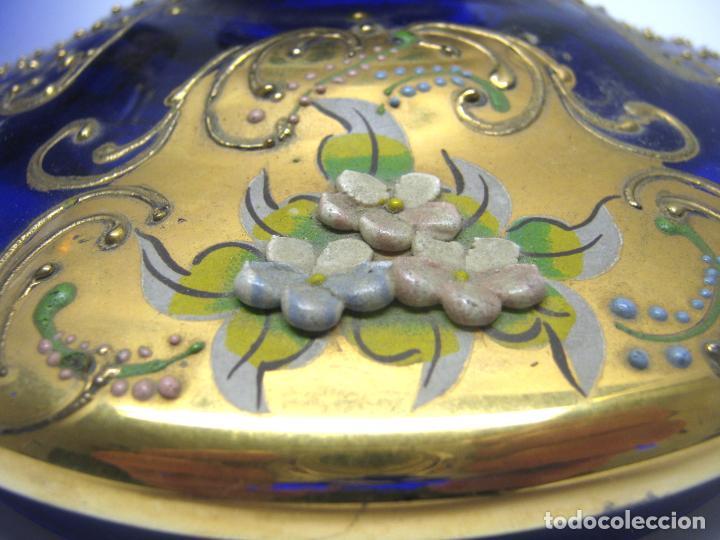 Antigüedades: Impresionante ponchera bombonera en cristal cobalto y oro - Foto 9 - 190772785
