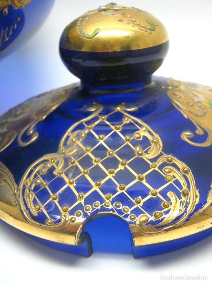 Antigüedades: Impresionante ponchera bombonera en cristal cobalto y oro - Foto 6 - 190772785