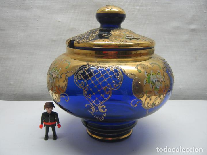 Antigüedades: Impresionante ponchera bombonera en cristal cobalto y oro - Foto 14 - 190772785