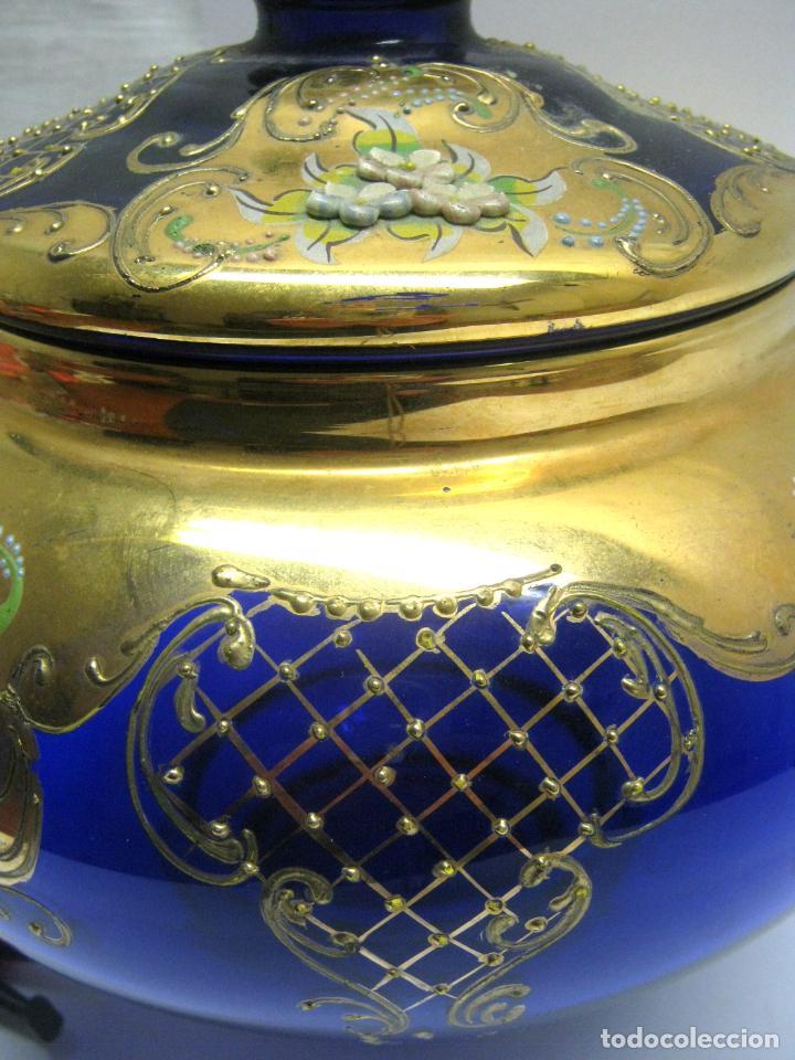 Antigüedades: Impresionante ponchera bombonera en cristal cobalto y oro - Foto 11 - 190772785
