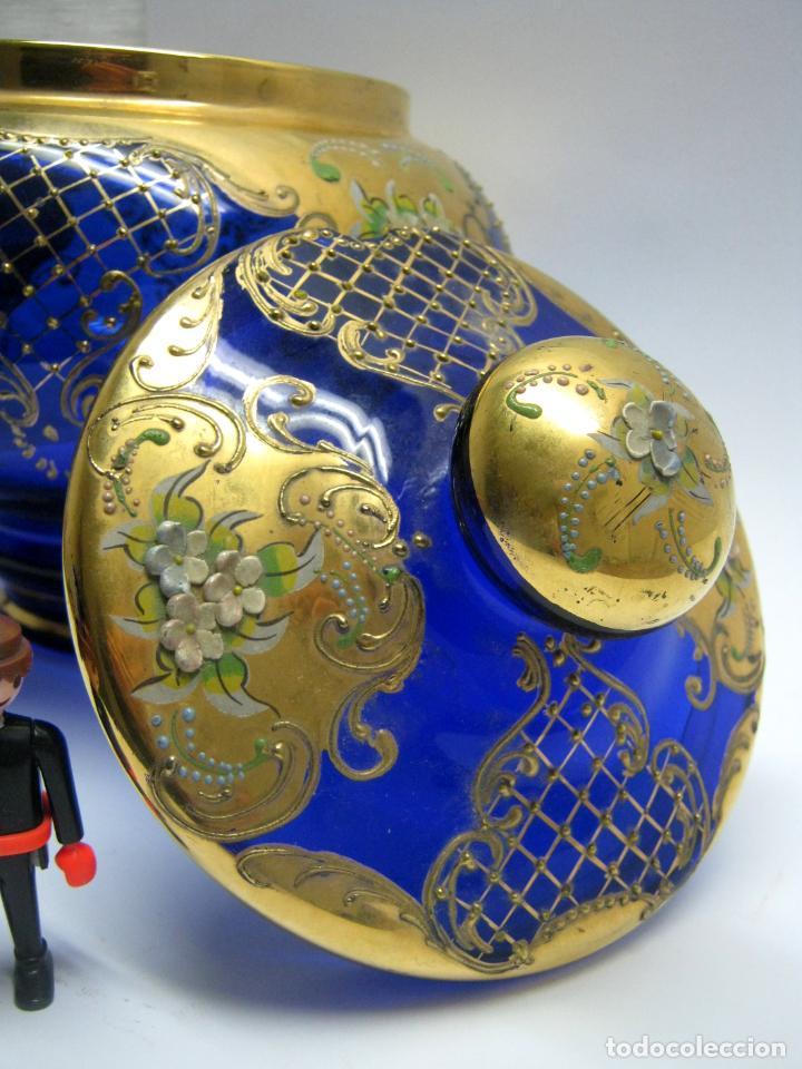 Antigüedades: Impresionante ponchera bombonera en cristal cobalto y oro - Foto 3 - 190772785