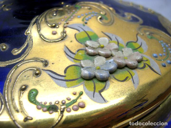 Antigüedades: Impresionante ponchera bombonera en cristal cobalto y oro - Foto 10 - 190772785