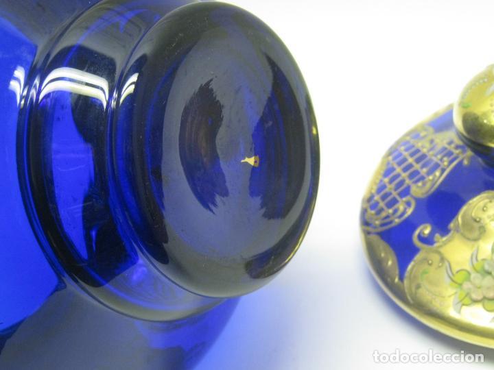 Antigüedades: Impresionante ponchera bombonera en cristal cobalto y oro - Foto 16 - 190772785
